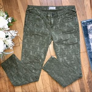 Free people embroidered floral army green pants